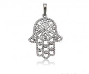 Bo'Bell Divine Hamsa Happy Fortune Sterling Silver CZ Diamond Pendant
