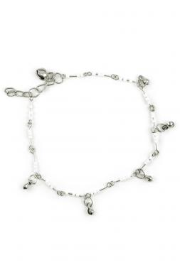 Bo'Bell White Bead Indo-Western Fusion  Anklet