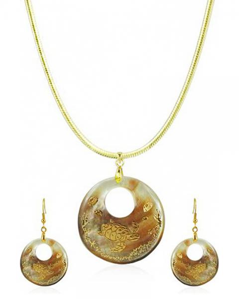 Bo'Bell Antique Artisanal Abalone Shell Pendant Set