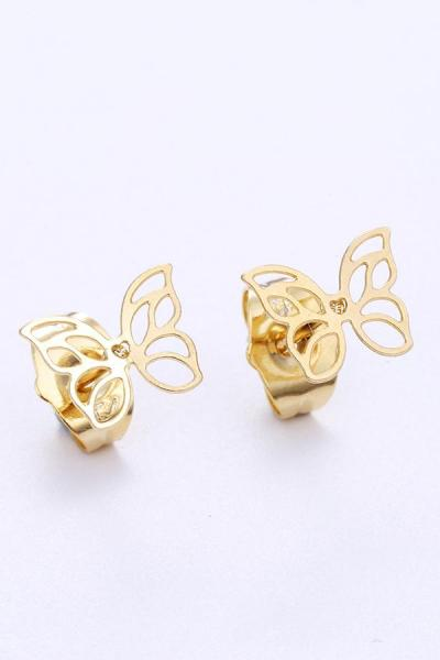 Bo'Bell Netted Tiny Cool Butterfly Nature-Inspired Earring/GOLDEN