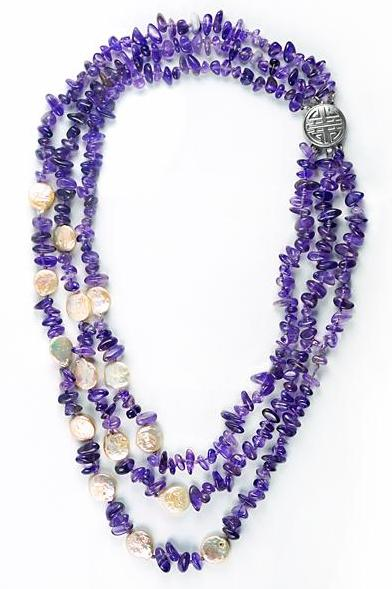 It's a Crunchy amethyst & pearl layered necklace.