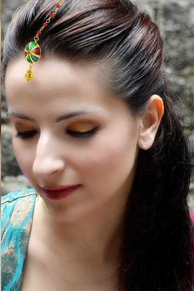 Bo'Bell Trendy Multicoloured Polki Maang Tikka/MULTI