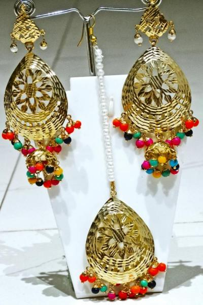 Bo'Bell Exciting Colorful Ethnic Fusion Navratna Earring Set/MULTI