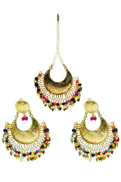 Bo'Bell Sexy Bright Rainbow Colors Designer Fusion Navratna Earring Set/MULTI