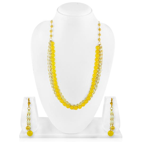 Bo'Bell Lemon Yellow Fashion Beads Fusion Western Necklace/YELLOW
