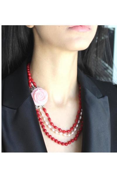 Rice Pearls & Coral Tri-Strand with Rose Quartz Clasp.