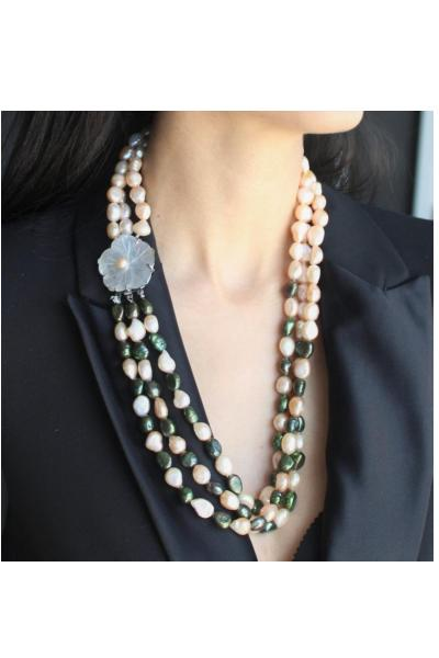 Lustrous Freshwater Pearl Tri-strand with Floral Abalone Shell clasp.