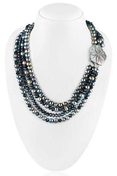 Mixed semi-precious black color gemstones and pearls multi strands necklace.