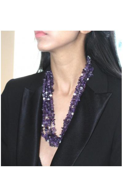 Crunch Amethyst Layered Necklace.