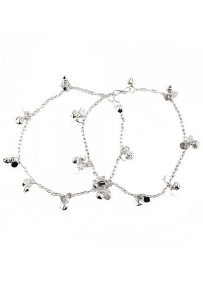 Bo'Bell Silver Lucky Leaf Charms Anklet/SILVER
