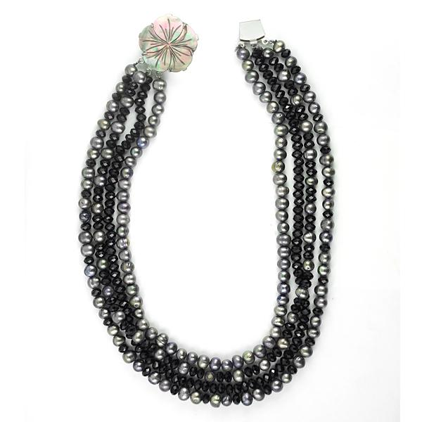 Highlighted by black colored glass beads & pfresh water pearls on either side to add a boost of colorful beauty.
