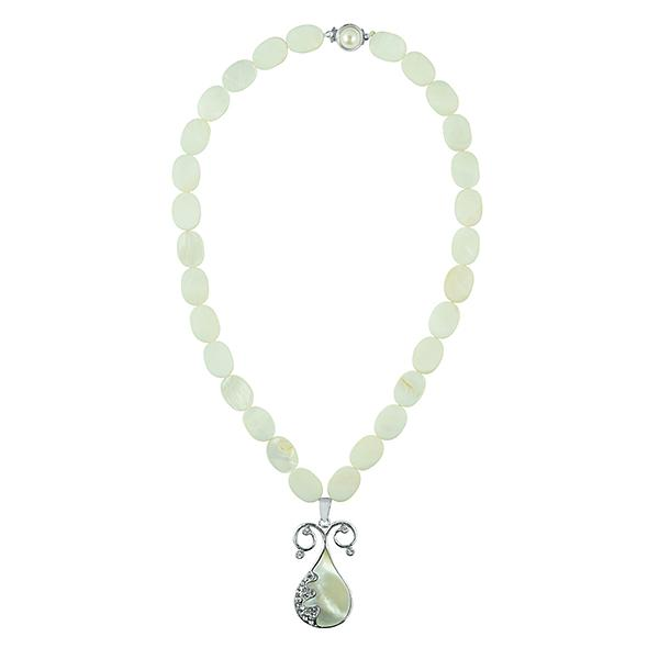 Bo'Bell Queenly MOP Shiny White Abalony Shell Necklace