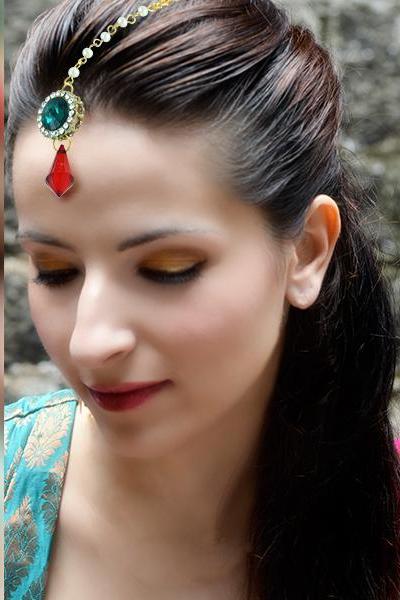 Bo'Bell Feminine Cute Indian Ethnic Maang Tikka/MULTI