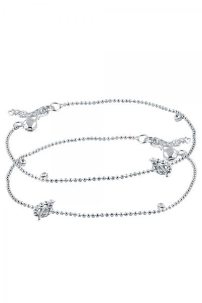 Bo'Bell Elegant Leafy Beauty Glitzy Anklet/SILVER