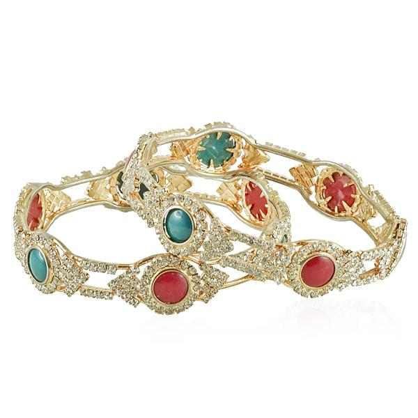 This bangle set accents add eye-catching sparkle.