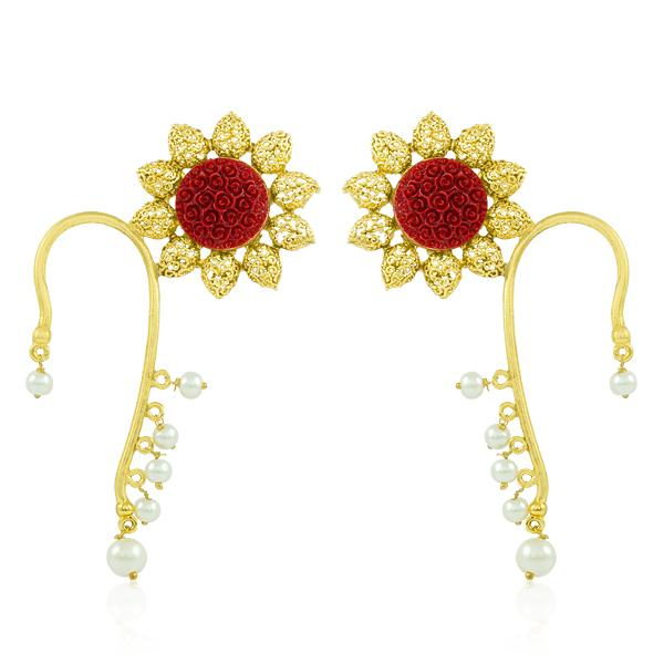 Bo'Bell Stylish Crafted Krishan Pankh Ear Cuff/MAROON
