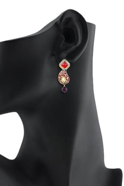 Bo'Bell Antique Meenakari Traditional Earring/RED