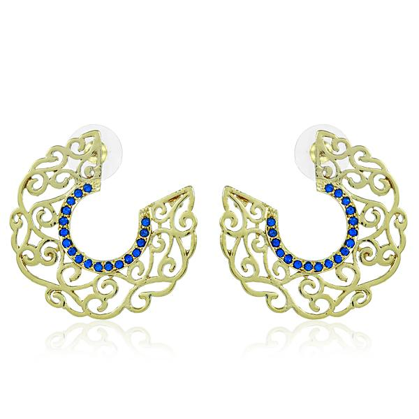 Bo'Bell Stylish Crafted Bend Antique Indian Earring/BLUE