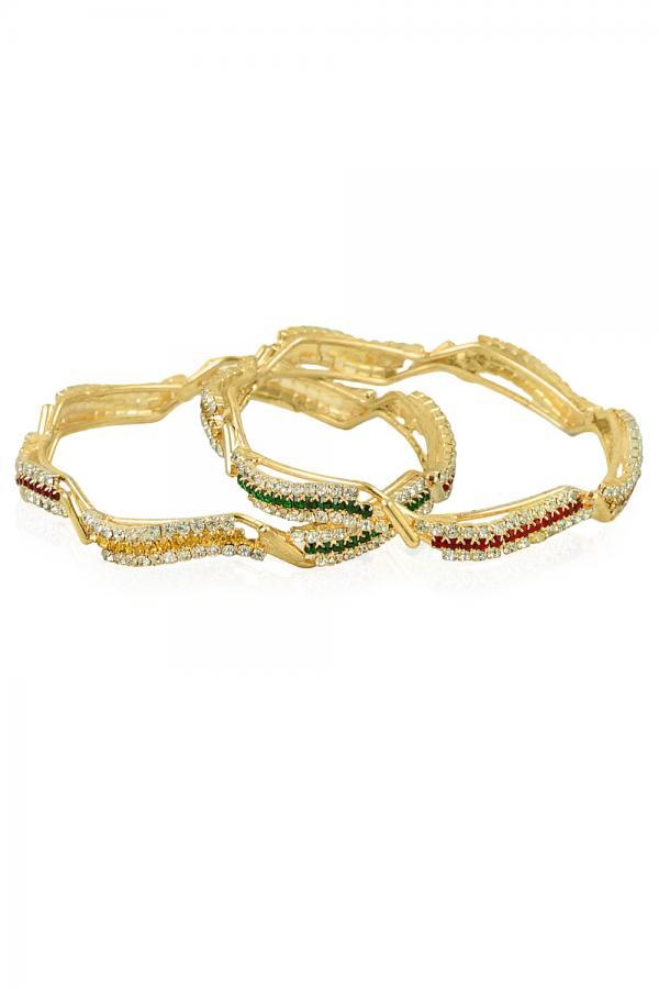 BO'BELL Gold Plated Multicolor Diamond bangles (Gold)