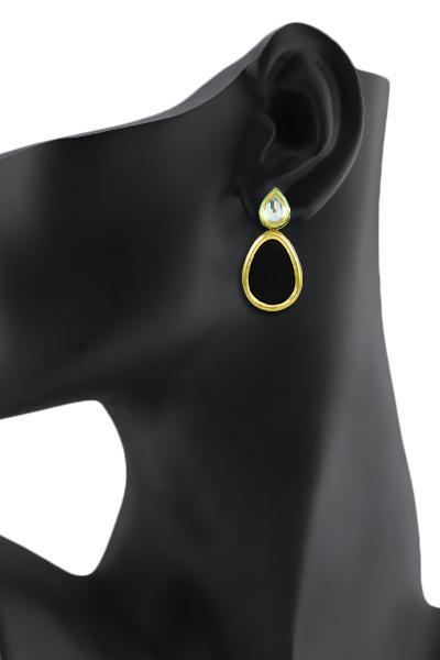 Bo'Bell Indian Bold Boondh Sheet Earring/BLACK