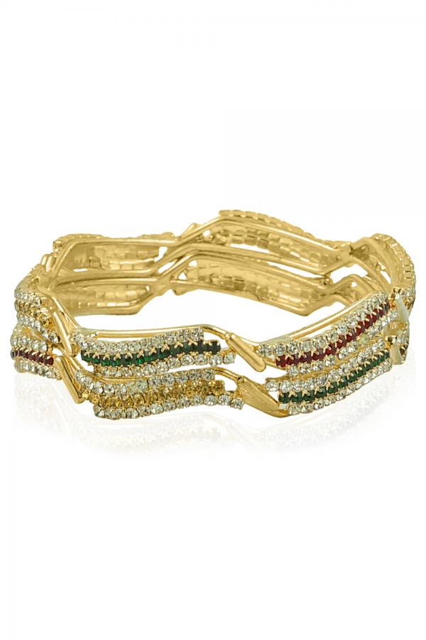 BO'BELL Gold Plated Multicolor Diamond bangles (Gold)